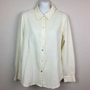 Charter Club Ivory Button Up Blouse Size 10